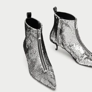 Zara Size 7.5 US Sequin High Heel Ankle Boots NWT